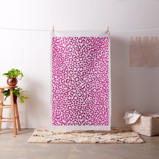 Custom Colour Fabric Large Pink Leopard Print