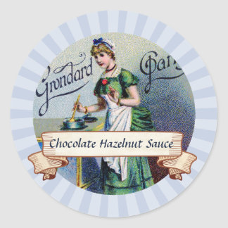 custom colour French chocolate woman canning label Round Sticker