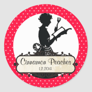 custom colour housewife cookbook canning label round sticker