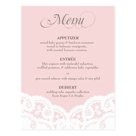 Custom Colour Lace Doily Menu Postcard