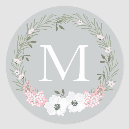 Custom Colour Monogram Circular Sticker Pink