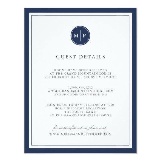 Custom Colour Monogram Wedding Details Card