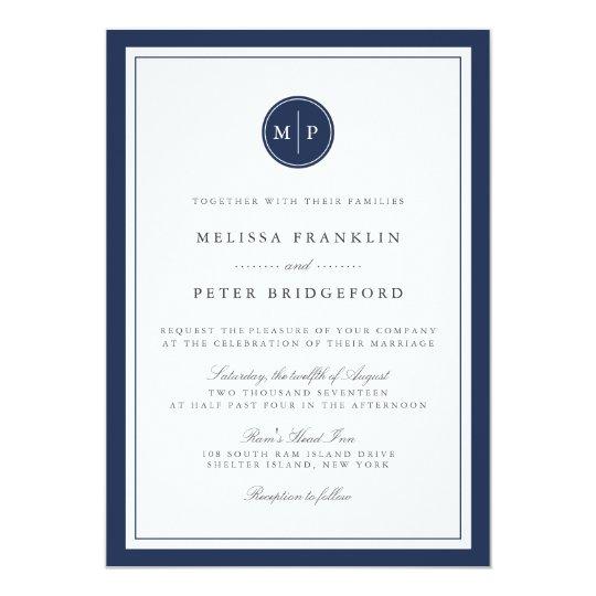 Custom Colour Monogram Wedding Invitation
