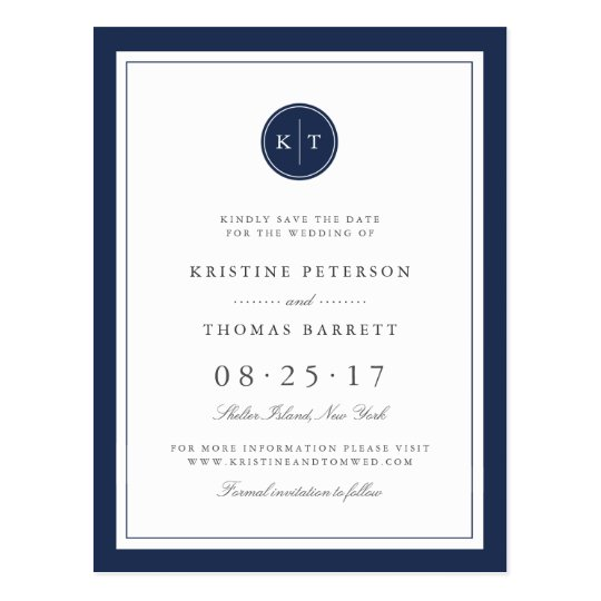 Custom Colour Monogram Wedding Save the Date Postcard