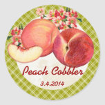 Custom colour peaches fruit canning label round stickers