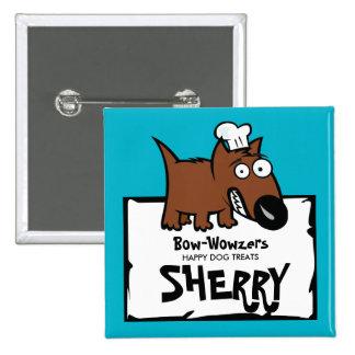Custom colour pet food chef dog food dog treats 15 cm square badge