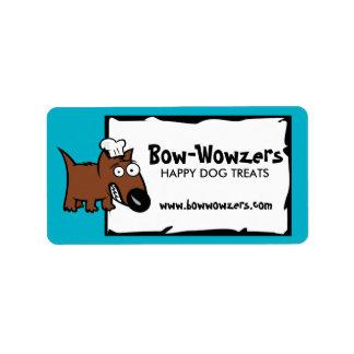 Custom colour pet food chef dog food dog treats address label