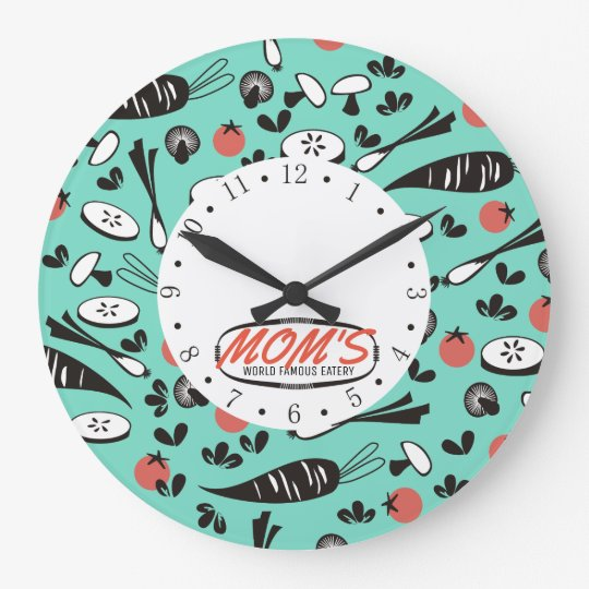custom colour retro vegetable cooking kitchen large clock