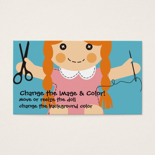 Custom colour sewing seamstress doll crafts business card