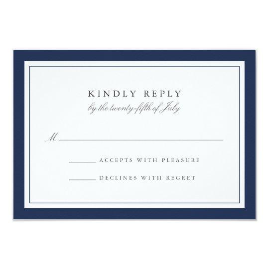 Custom Colour Simple Border Wedding RSVP Card