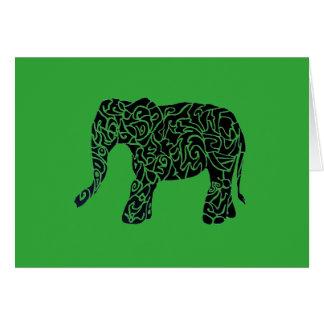 Custom Colour/Text Tribal Elephant Greeting Card
