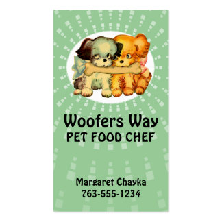 custom colour vintage puppies dogs pet food chef pack of standard business cards