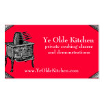Custom colour vintage stove oven pans cooking chef business cards