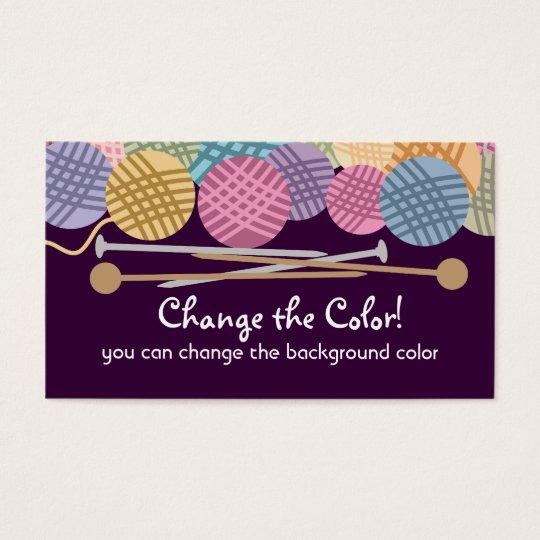 Custom colour yarn knitting needles business card
