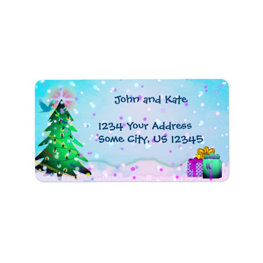 Custom Colourful Christmas Tree  and Presents Address Label