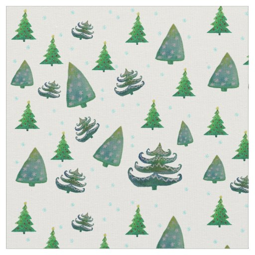 Custom Combed Cotton Fabric Christmas Trees