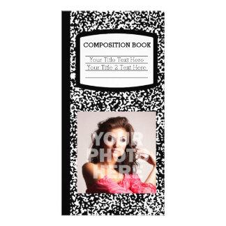 Custom Composition Book Black/White School/Teacher Photo Greeting Card