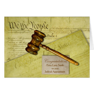 Custom Congratulations, Law Theme, Gavel Documents Card