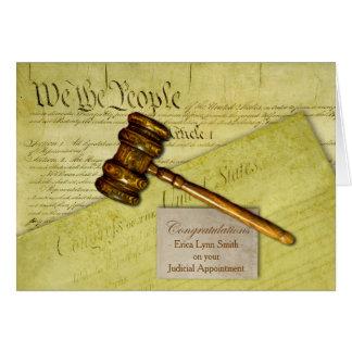 Custom Congratulations, Law Theme, Gavel Documents Greeting Card