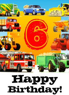 Custom Construction Trucks Boys 6th Birthday Card