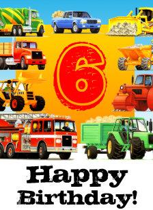 Custom Construction Trucks Boys 6th Birthday Card