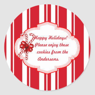 Custom Cookie Swap Candy Stripe Holiday Stickers
