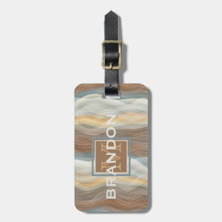 Custom Cool Retro Abstract Artistic Waves Pattern Luggage Tag