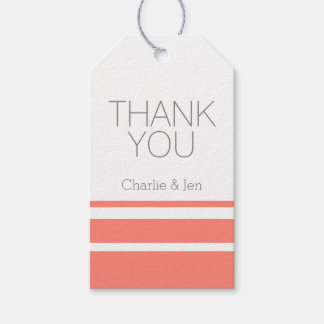 Custom Coral and Grey Thank You Gift Tags