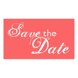 Custom coral back save the date wedding cards business card