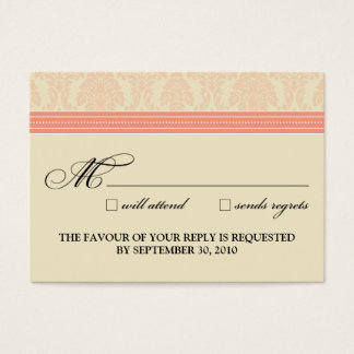 ":custom: Coral/Cream Damask 3.5""x2.5"" RSVP Card"