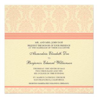 custom Coral Cream Damask Wedding Invitation