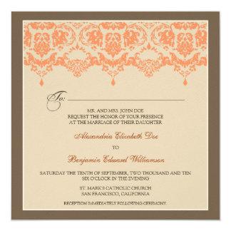 :custom: Coral Darling Damask Wedding Invitation_2 13 Cm X 13 Cm Square Invitation Card