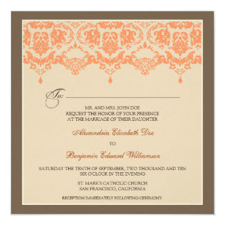 :custom: Coral Darling Damask Wedding Invitation_2 Card