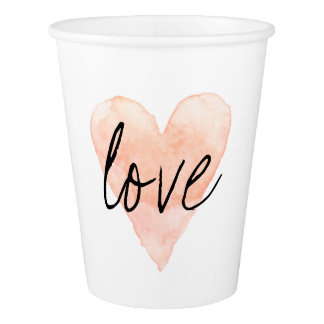 Custom coral pink watercolor love heart paper cups