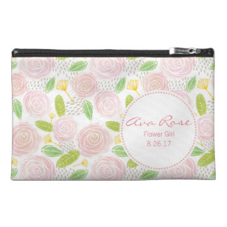 Custom Cosmetic Bag -Pink Watercolor Roses Pattern