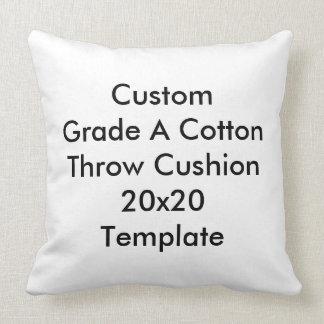 """Custom Cotton Throw Cushion 20"""" x 20"""" Template Pillows"""