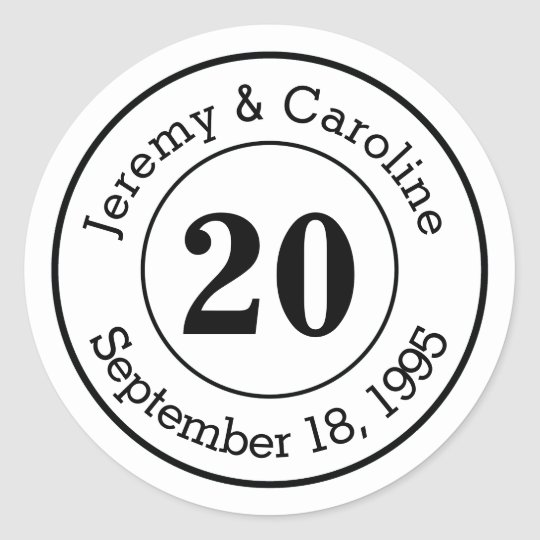 Custom Couple 20th Wedding Anniversary Modern Classic Round