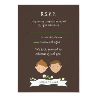 Custom Couple Portrait Illustration Wedding RSVP 9 Cm X 13 Cm Invitation Card