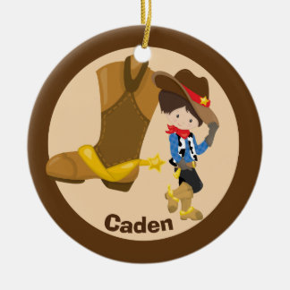 Custom Cowboy Kid Christmas Ornament