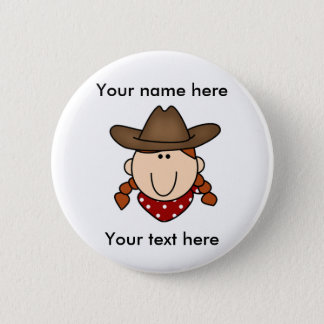 custom cowgirl red Button
