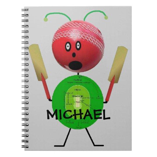 Custom Cricket Cartoon Notebooks