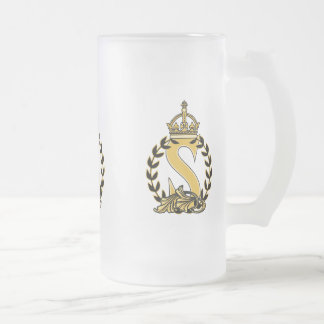 Custom Crown Monogram - S Frosted Glass Mug