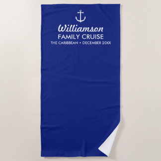 Custom Cruise Ship Family Reunion Nautical Anchor Beach Towel