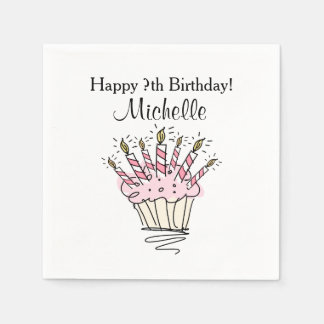 Custom cupcake with candles Birthday party napkins Paper Napkin