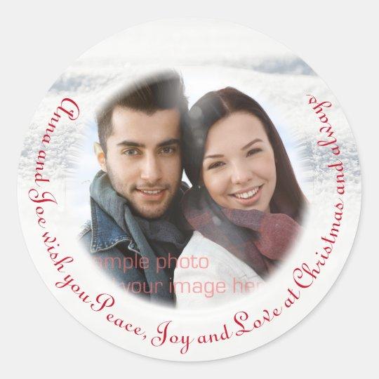 Custom Curved Text Christmas Photo Sticker
