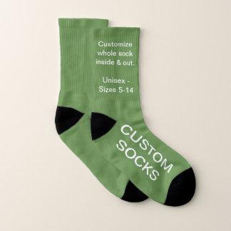 Custom Customisable Small Moss Green Socks 1