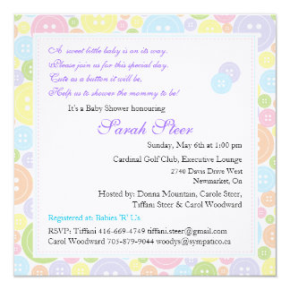 "Custom Cute as a Button Twins Baby Shower Invite 5.25"" Square Invitation Card"