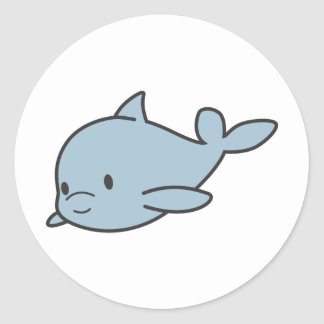 Custom Cute Baby Dolphin Cartoon Classic Round Sticker