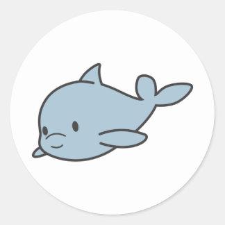 Custom Cute Baby Dolphin Cartoon Round Sticker