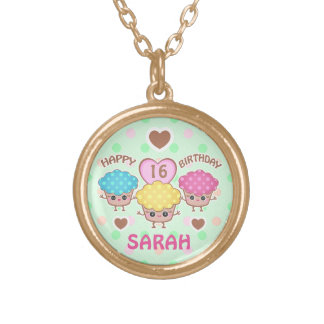 Custom Cute Birthday Girl Kawaii Cupcakes Necklace